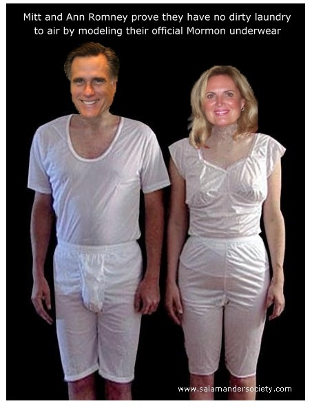 Mitt and Ann Rommey model their official Mormon underwear.