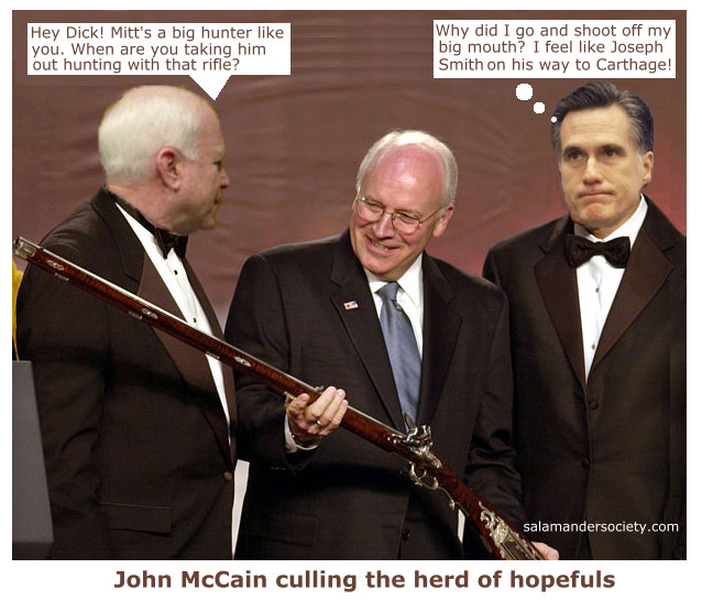 Mitt Romney's hunter remorse with Dick Cheney and rifle.
