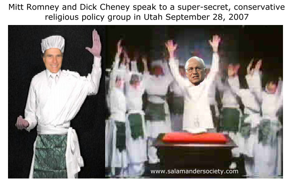 Mitt Romney and Dick Cheney speak to ultra secret, conservative religious 