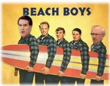 Mitt Romney and Gordon Hinckley as the Beach Boys.