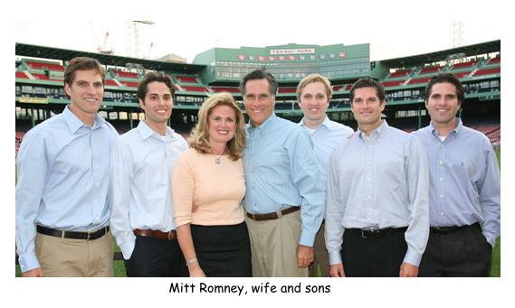 Mitt Romney Ann Romney five sons at Fenway Park.