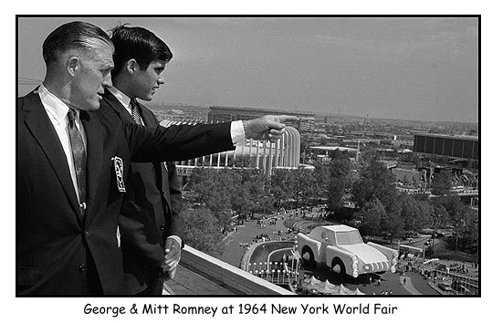 Mitt Romney with father, George Romney at 1964 world fair.