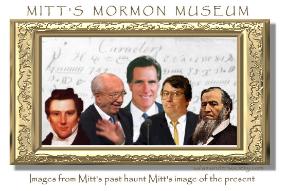 Mitt Romney present imaged haunted by images from his Mormon past.