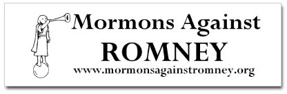 Mormons Against Romney bumper sticker and website.